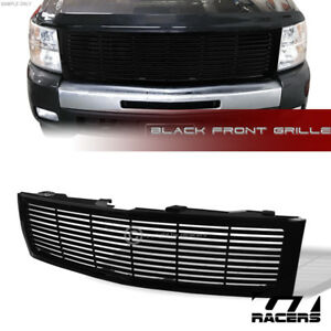 For 2007 2013 Silverado 1500 Glossy Black Horizontal Front Bumper Grill Grille