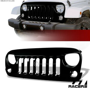 For 2007 2018 Jeep Wrangler Jk Glossy Black Angry Bird Sport Front Bumper Grille