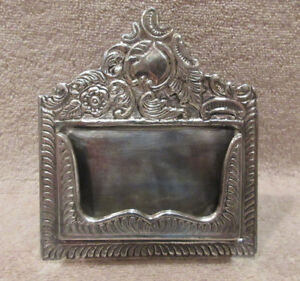 Vintage Antique Silver Plated Desk Top Business Card Holder W Floral Filigree