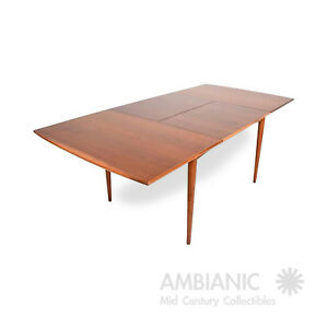 Mid Century Modern Walnut Dining Table With Built In Extension