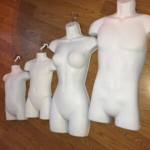 4 Mannequins woman Man Family White Male Female Child Toddler Torso Forms