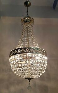 Antique French Empire Brass Crystals Large Chandelier From 1950 S