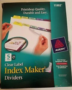 Avery 11992 Clear Label Contemporary Color Index Maker Dividers 5 tab 25 Set box