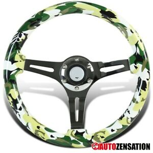 350mm Wooden Dolphin Style Camo Camouflage 3 Spoke 6 Bolt Racing Steering Wheel
