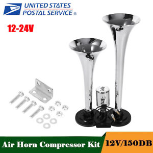 Air Horn Dual Trumpet Super Loud 150db 12v Compressor Set Car Truck Train Boat