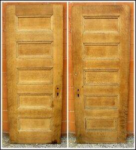 Antique 5 Panel Oak Veneer Solid Core Ash Interior Door Sandblasted Stain Ready