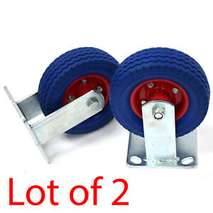 Pair 6 X 2 Rigid Caster Wheel Fixed Never Flat Free Slotted Plate Dolly T