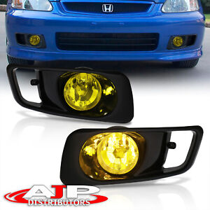 1999 2000 Honda Civic Ek Lx Dx Ex Si Jdm Style Yellow Lens Driving Fog Lights