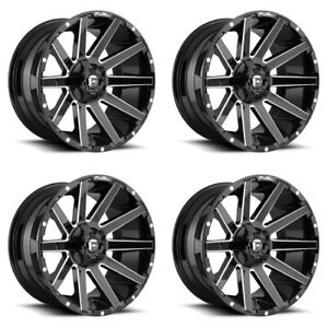 Set 4 22 Fuel Contra D615 Gloss Black Milled Wheels 22x12 8x180 44mm Lifted
