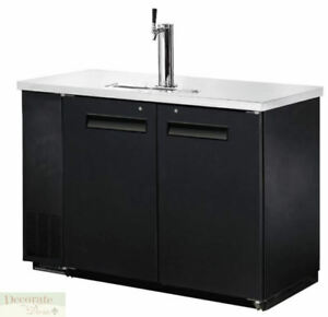 48 Back Bar Cooler Kegerator Beer Dispenser Refrigerator 2 Door 2 Keg Black New
