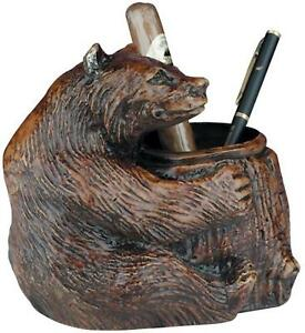 Pencil Holder Mountain Rustic Sitting Bear Resin New Hand cast Hand paint
