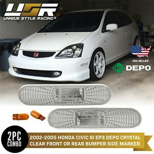 Depo Clear Bumper Side Marker Lights For 2002 2005 Honda Civic Si Ep3 Ep 3dr