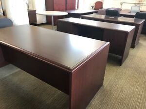 Executive Set Desk Credenza By Kimball Office Furniture In Mahogany Laminate