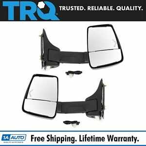 Trq Towing Mirror Power Heated Led Signal Smooth Black Set Of 2 For Gm Van