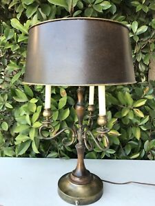 Vintage French Empire Style Bouillotte Brass Wood Black Shade Candlestick Lamp