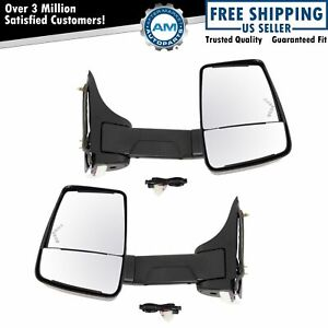 Towing Mirror Power Heated Led Signal Smooth Black Pair Set Of 2 For Gm Van New