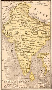 1888 Rare Antique India Map Miniature Map Of India Gallery Wall Art 5805