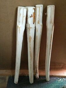 Vintage Table Legs White Chippy Paint 29 Tall Rustic Architectural Salvage