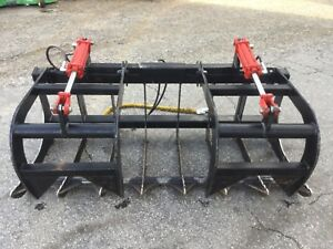 Very Nice 66in Twin Cyl Bobcat Quick Attach Grapple Bucket