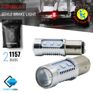 Syneticusa 1157 Bright Red Flash Strobe Tail Brake Rear 12 Led Light Bulbs