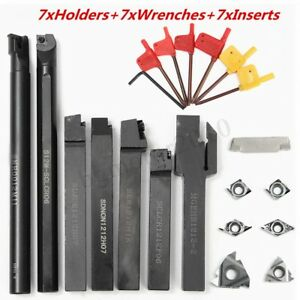 7 Set 12mm Lathe Turning Tool Holder Boring Bar 7pcs Dcmt Ccmt Carbide In