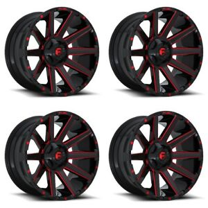 Set 4 24 Fuel Contra D643 Black Candy Red Wheels 24x12 8x6 5 44mm Lifted 8 Lug