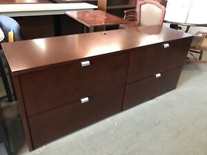 4dr 6 w Lateral Credenza By Cherryman In Cherry Finish Wood veneer W Lock