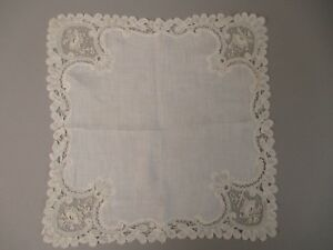 Antique Victorian Point De Gaze Lace Bridal Handkerchief