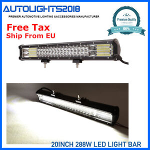 7d Tri Row 20inch 288w Led Light Bar Work Car Lamp Combo Spot Flood Driving Atv