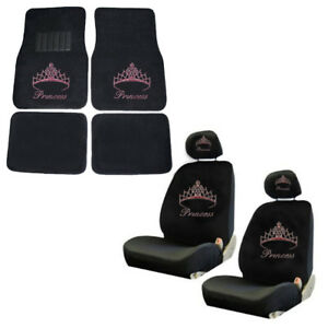 Pink Princess W Crown Crystal Rhinestone Floor Mats Low Back Seat Covers Combo