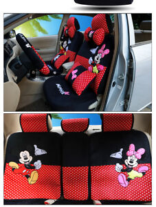 2018new Mickey Minnie Mouse Car Seat Covers Cushion Accessories 18pcs 802 Plush