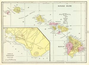 1900 Antique Hawaii Map Vintage Hawaiiana Original Hawaiian Islands Map 5812