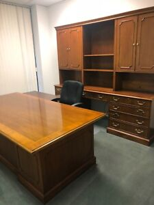 Desk Kimball Exec Presidential 7 Drawers Mahogany credenza Sold Separately