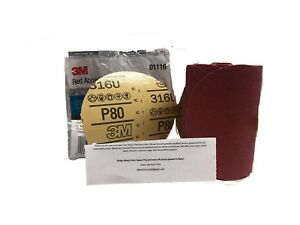 3m 1116 Stick It Adhesive Sticky Back 6 80 Grit Disc Red Sandpaper Sheets roll