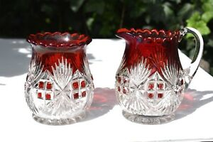 Vintage Cream Sugar Painted Cut Glass Ruby And Clear Pitcher Bowl Bright Red
