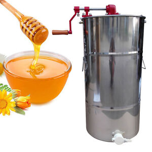 New Large 2 Frame Stainless Steel Honey Extractor Beekeeping Equipment Silver