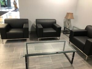 6 Piece Lobby Set 3 Club Chairs 3 Glass Tables