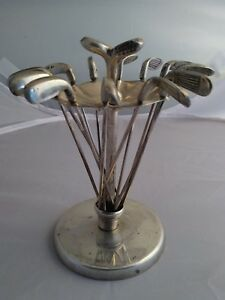 Vintage Sterling Silver Golf Clubs Cocktail Hor D Oeuvre Picks Holder
