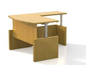 Mayline L Shape Height Adjustable Desk In Maple Finish With 1 Set Of Drawers