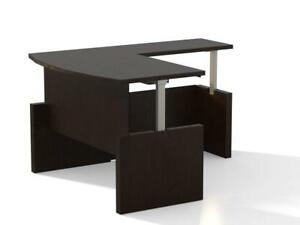 Mayline L Shape Height Adjustable Desk In Espresso Finish With No Drawers