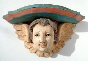 Antique Painted Carved Wood Baby Angel Cherub Wall Shelf With Glass Eyes