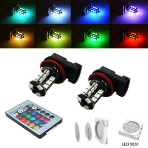 Multi color Rgb H11 h8 Led Bulbs With Wireless Remote For Fog Light Driving Lamp