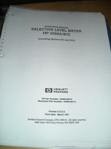 Hp 3586a b c Selective Level Meter Operating Manual Including Options 001 And 00
