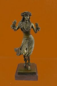 100 Bronze Hawaiian Hula Dancer Tiki Girl Nude Sculpture Statue Art Beach Decor