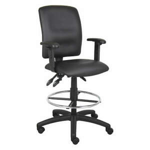 Grainger Approved Drafting Chair adj Arms leather Seat 452r14