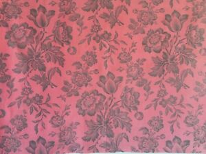 Beautiful 19th C French Floral Cotton Toile Fabric 2500