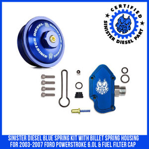Sinister Diesel Blue Spring Kit With Billet Spring Housing For 2003 07 Ford 6 0l