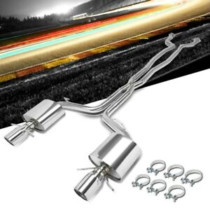 4 5 Dual Slant Muffler Tip Exhaust Catback System For 09 14 Cadillac Cts V 6 2l