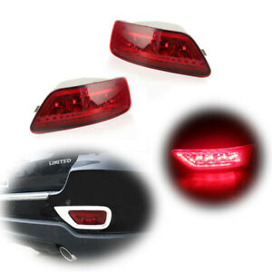 Fit 2011 2015 Jeep Grand Cherokee Red Rear Bumper Reflector Led Fog brake Light