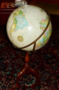Replogue 16 Political Globe With Wood Stand Very Nice
